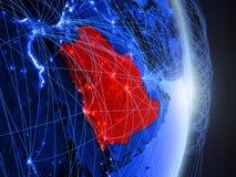 Saudiarabien på blå blå digital jord royaltyfri foto