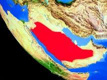 Saudiarabien på jord från utrymme royaltyfri illustrationer