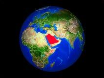 Saudiarabien på jord från utrymme vektor illustrationer