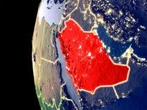 Saudiarabien på jordklotet från utrymme vektor illustrationer