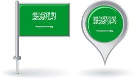 Saudiarabisk stiftsymbol och översiktspekareflagga vektor illustrationer