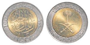 100 saudier - arabiskt halalamynt Arkivbilder