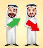 Saudier - arabiskt innehav för manvektortecken uppåt- och neråt pilen för affär stock illustrationer