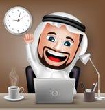 Saudier - arabiskt mantecken som arbetar på affärskontorsskrivbordet Fotografering för Bildbyråer