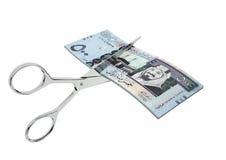 saudische Währung 3D mit Scheren lizenzfreie abbildung
