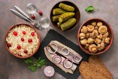 Традиционные русские закуски и водка, sauerkraut с клюквами, сельди, замаринованные огурцы, замаринованные грибы и хлеб рож дальш стоковое изображение