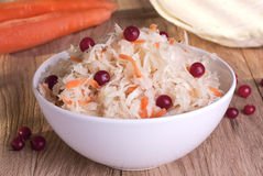 Sauerkraut. And ingredients on the kitchen table stock images
