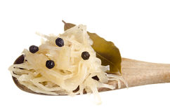 Sauerkraut and bay leaf Royalty Free Stock Photos