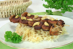 Sauerkraut with Bratwurst Royalty Free Stock Photos