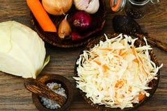 Sauerkraut, Carrot, Salt, Water, Sugar, Garlic Stock Photos
