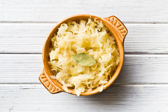 Sauerkraut in ceramic bowl Stock Photo
