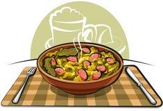 Sauerkraut con la salchicha Fotografía de archivo
