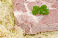 Sauerkraut with cooked ribs Royalty Free Stock Images