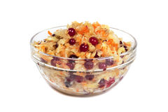 Sauerkraut with cranberry. On the glass plate image isolated on a white background Stock Photo