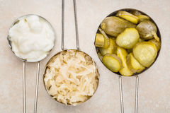 Sauerkraut, cucumber pickles and yogurt Stock Photography