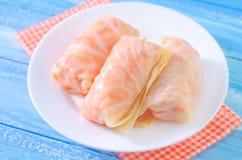 Sauerkraut. Fresh sauerkraut on white plate Royalty Free Stock Photography