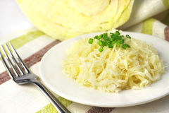 Sauerkraut on white plate Royalty Free Stock Images