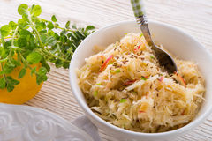 Sauerkraut with ingredients royalty free stock photos