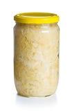 Sauerkraut in jar. On white background Stock Photos