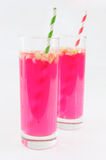Sauerkraut juice. Pink sauerkraut juice in glasses Royalty Free Stock Image
