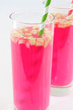 Sauerkraut juice. Pink sauerkraut juice in glasses Stock Photos