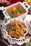 Sauerkraut with mushrooms and carp in jelly for christmas eve su Royalty Free Stock Photos