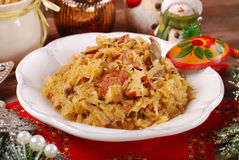 Sauerkraut with mushrooms and sausage for christmas Stock Image
