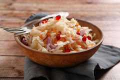 Sauerkraut with onion in bowl Royalty Free Stock Photography