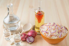 . Sauerkraut with onion in a salad bowl, a decanter of vodka and a stack on the table from pine boards. Stock Images