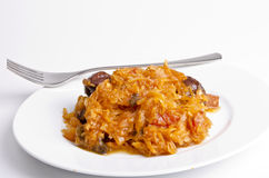 Sauerkraut in Polish kind with smoked meat Stock Image