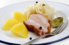 Sauerkraut with pork and boiled potatoes Royalty Free Stock Photo
