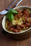 Sauerkraut with pork scratchings Stock Image