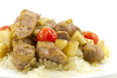 Sauerkraut Sausage and Potatoes Stock Photo