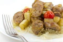 Sauerkraut Sausage and Potatoes Royalty Free Stock Photography
