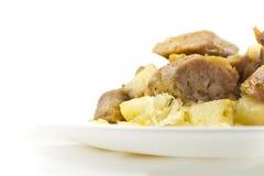 Sauerkraut Sausage and Potatoes Stock Images