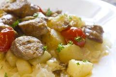 Sauerkraut Sausage and Potatoes Royalty Free Stock Image