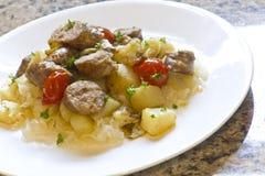 Sauerkraut Sausage and Potatoes Stock Image