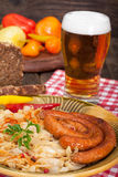 Sauerkraut, sausages and beer Royalty Free Stock Photography