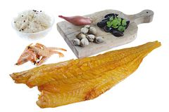 Sauerkraut, shrimp, smoked haddock. For frech dish preparation Royalty Free Stock Images