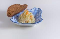 Sauerkraut with slice of rye bread Royalty Free Stock Image