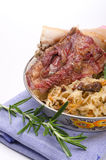 Sauerkraut with smoked meat Stock Photography