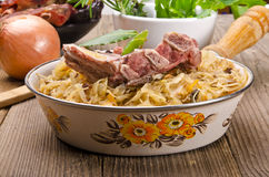 Sauerkraut with smoked meat Royalty Free Stock Photo