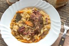 Sauerkraut with smoked pork meat Stock Image