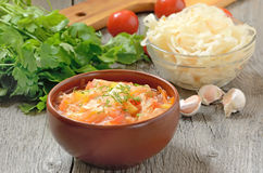 Sauerkraut soup in ceramic bowl Royalty Free Stock Photos