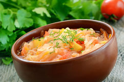 Sauerkraut soup, close up Stock Image