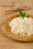 Sauerkraut Sour cabbage with bay leaves Stock Images