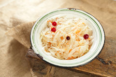 Sauerkraut - Sour cabbage -  enamel bowl Royalty Free Stock Photography