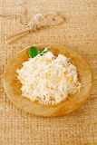 Sauerkraut - Sour cabbage -  on wooden bowl Stock Image