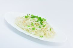 Sauerkraut with Spring Onions. On White Plate Stock Image