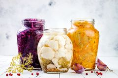 Sauerkraut variety preserving jars. Homemade red cabbage beetroot kraut, turmeric yellow kraut, marinated cauliflower and carrots Stock Photography